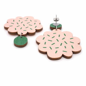 PIPAR earrings, pink - green