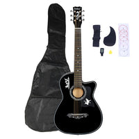 DK-38C Basswood Guitar Bag Straps Picks LCD Tuner Pickguard String Set Black