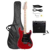 ST Stylish Electric Guitar with Black Pickguard Red