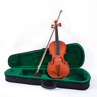 Glarry 4/4 Acoustic Matt Violin Case Bow Rosin Strings Shoulder Rest Tuner Natural