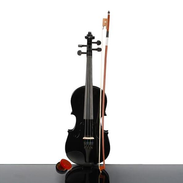 New 1/4 Acoustic Violin Case Bow Rosin Black
