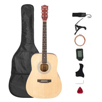 [US-W]Glarry Gt508 41 Inch Rounded Spruce Panel Matte Edging Folk Guitar Bag Shield Wrench Tuner Capo Shoulder Strap String Paddles Burlywood