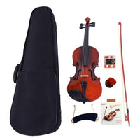 Glarry 3/4 Acoustic Violin Case Bow Rosin Strings Tuner Shoulder Rest Natural