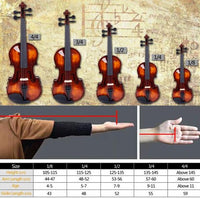 Glarry 3/4 Classic Solid Wood Violin Case Bow Violin Strings Rosin Shoulder Rest Electronic Tuner