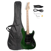 Glarry GST Stylish Electric Guitar Kit with Black Pickguard Green
