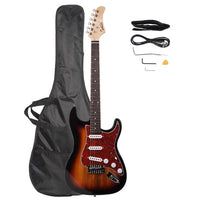 Glarry GST3 Pearl White Pick Guard Electric Guitar Bag Shoulder Strap Pick Whammy Bar Cord Wrench Tool Sunset Color