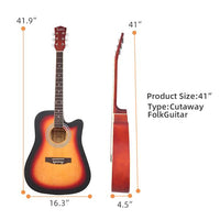 Glarry GT502 41-Inch Notch Spruce Panel Matte Edging Folk Guitar Bag Shield Wrench Sunset Color Gradient
