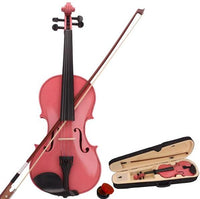 New 3/4 Acoustic Violin Case Bow Rosin Pink
