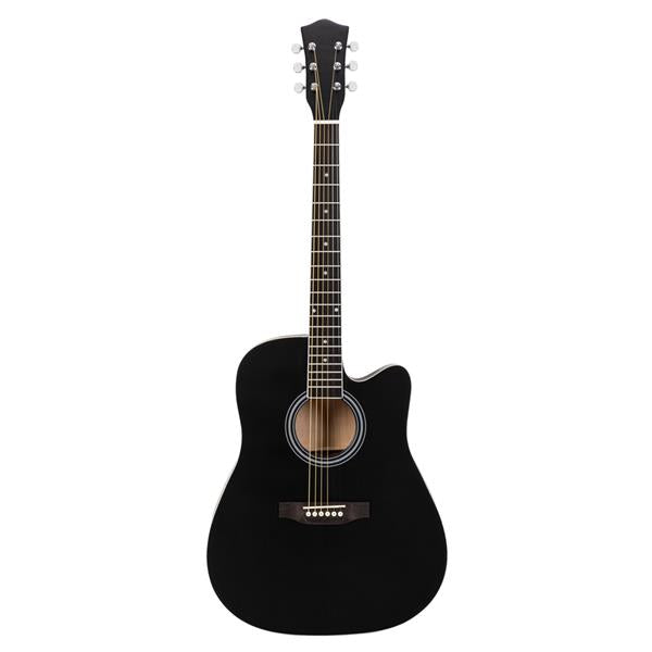 41in Full Size Cutaway Acoustic Guitar 20 Frets Beginner Kit for Students Adult Bag Cover Wrench Strings Black