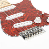 ST3 Stylish Pearl-shaped Pickguard Electric Guitar White & Red