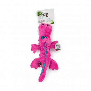 goDog® Gators with Chew Guard Technology™ Durable Plush Squeaker Dog Toy, Pink, Small