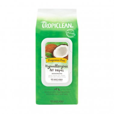 TropiClean Hypoallergenic Cleaning Wipes for Pets, 100ct