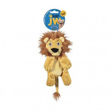 JW® Leroy Lion Crackle Heads Plush Dog Toy Color Medium