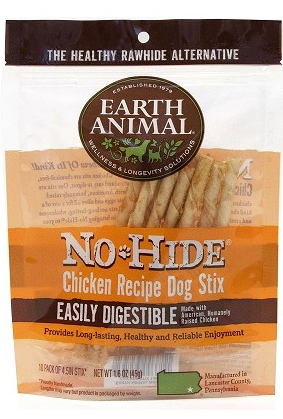 Earth Animal No-Hide Chicken Recipe Stix Dog Treats, 10 Pack