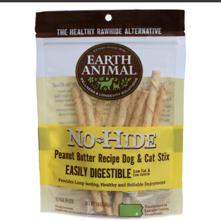 Earth Animal No-Hide Dog Stix Peanut Butter 10pk