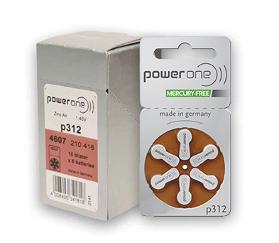 Power One Hearing Aid Batteries: 312 Box