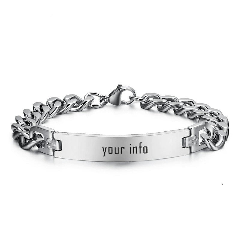 Men's ID Bracelets Personalize Name Image Unique Gift Link Chain