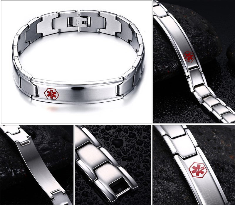 Men's Medical Alert ID Bracelet Bangle Jewelry Stainless Steel Metal 8.5inch Engraved
