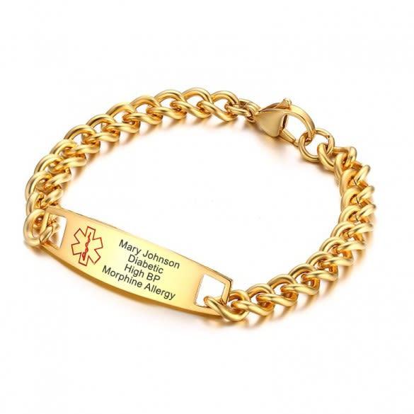 Men Women Gold/Silver Personalized ICE Info Alert Medical ID Bracelet