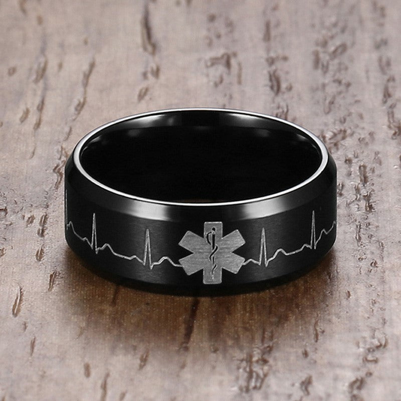 Medical Identification Rings for Men Jewelry Punk Black 8MM Stainless Steel ID Ring