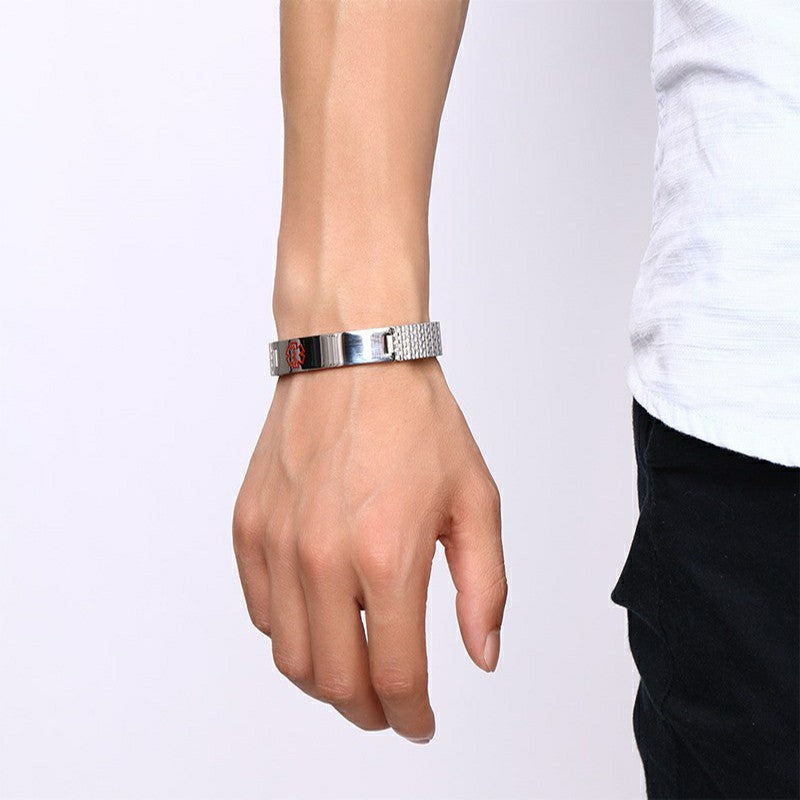 Women Men's Stainless Steel Medical Alert ID Stretch Bracelet