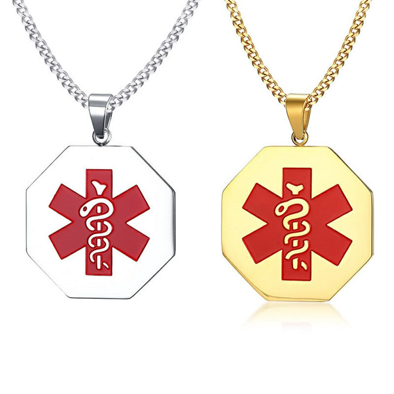 Custom Medical Alert ID Pendant For Men Women Necklace Stainless Steel Emergency Laser Tags