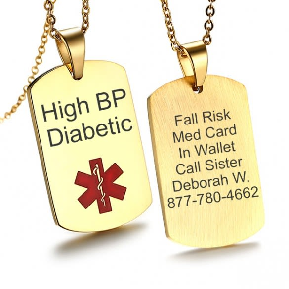Personalized Medical Necklaces & Pendant Trendy ID Jewelry Provide Engraved Name