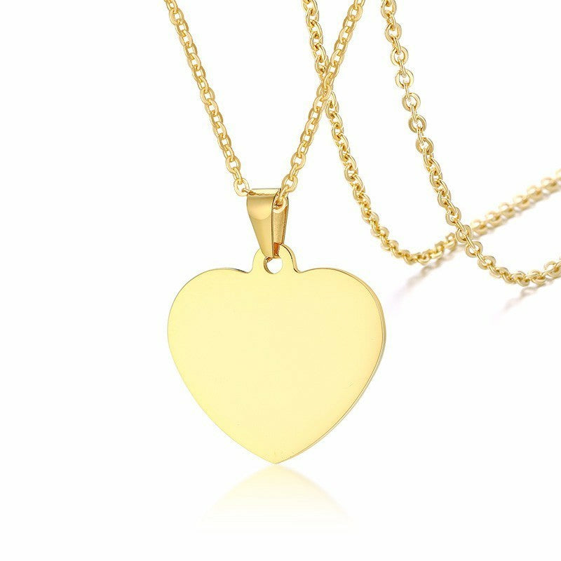 Classic Plain Heart Pendants for Women Men Stainless Steel Necklace Personalized Jewlry