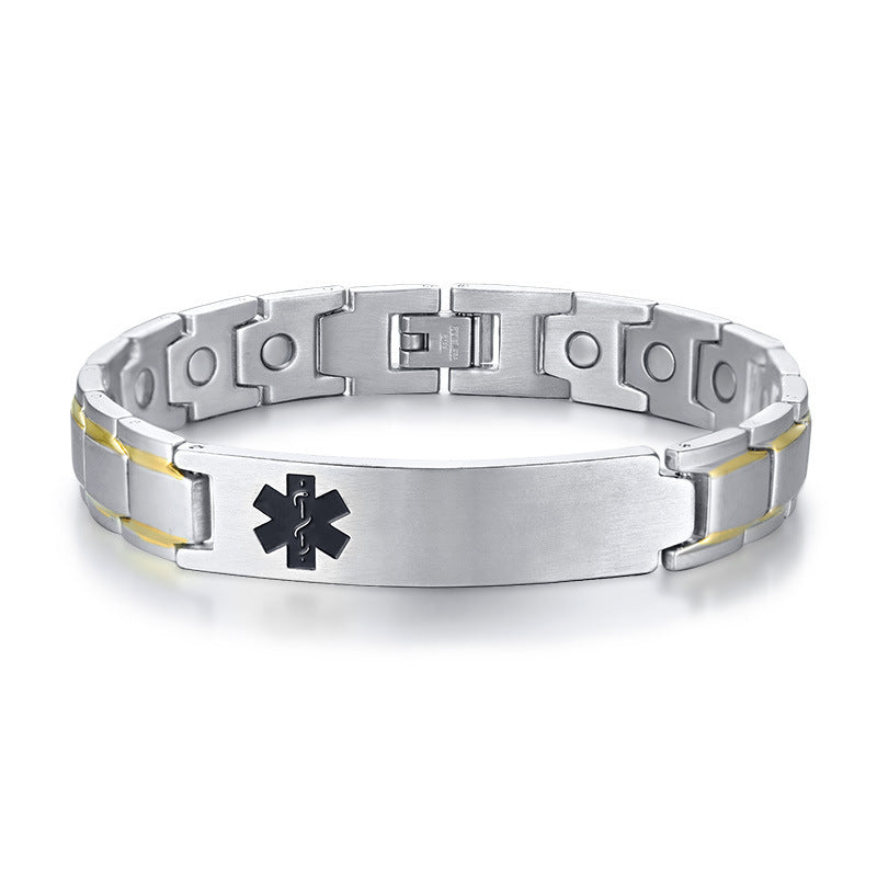 Personalized Engraving Medical Alert ID Bracelets for Men 12mm Magnetic Bracelets Therapy Jewelry
