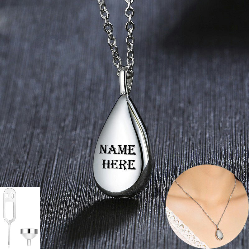 Keepsake Memorial Cremation Jewelry Necklace for Ashes Urn Pendant Carved Teardrop