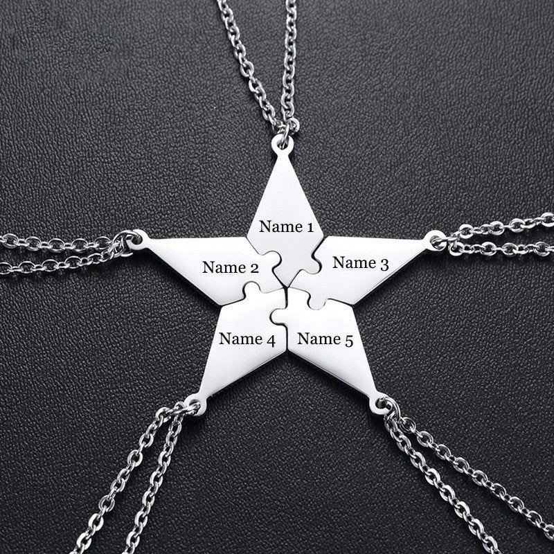 Personalized 5 PCS/Set BFF Puzzle Pendants Necklaces for Best Friends Sisters Brothers