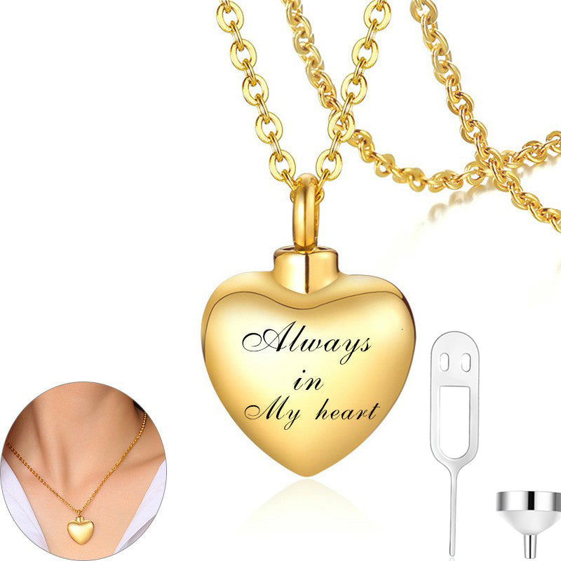 Customize Name Perfume Vial Heart Pendant Memorial Cremation Urn Necklace Jewelry