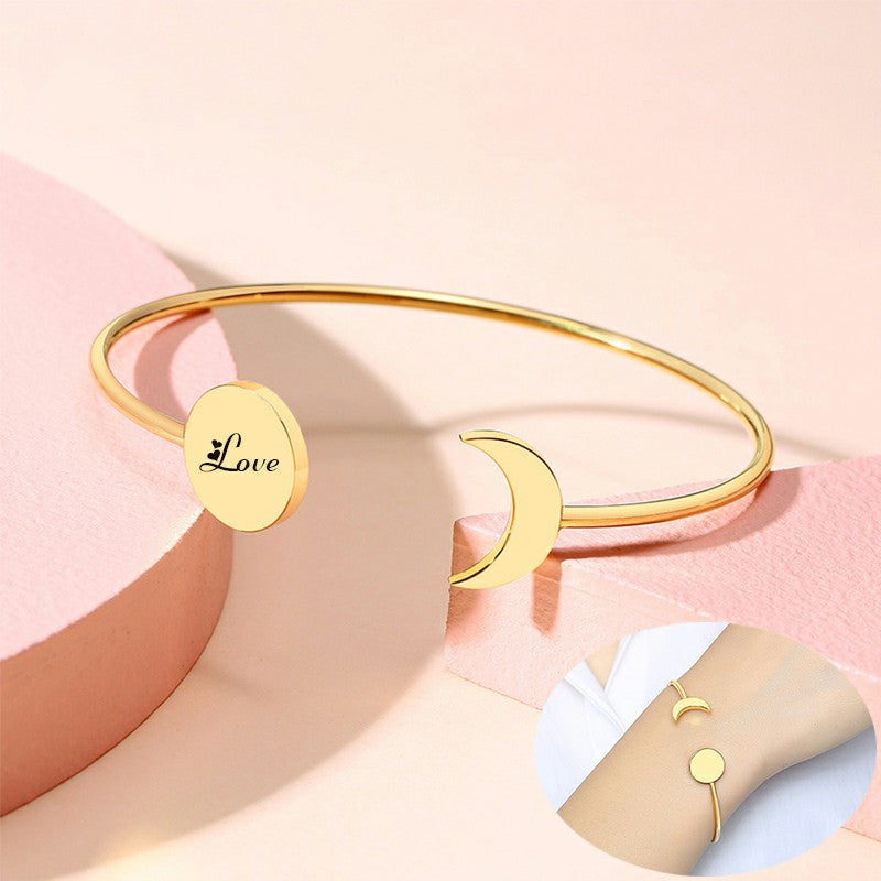 Women Trendy Sun and Moon Charm Cuff Bangle Personalized Bracelet Custom Jewelry