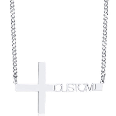 Custom Cross Name Necklace for Women Men Punk Religious Prayer Name Pendant