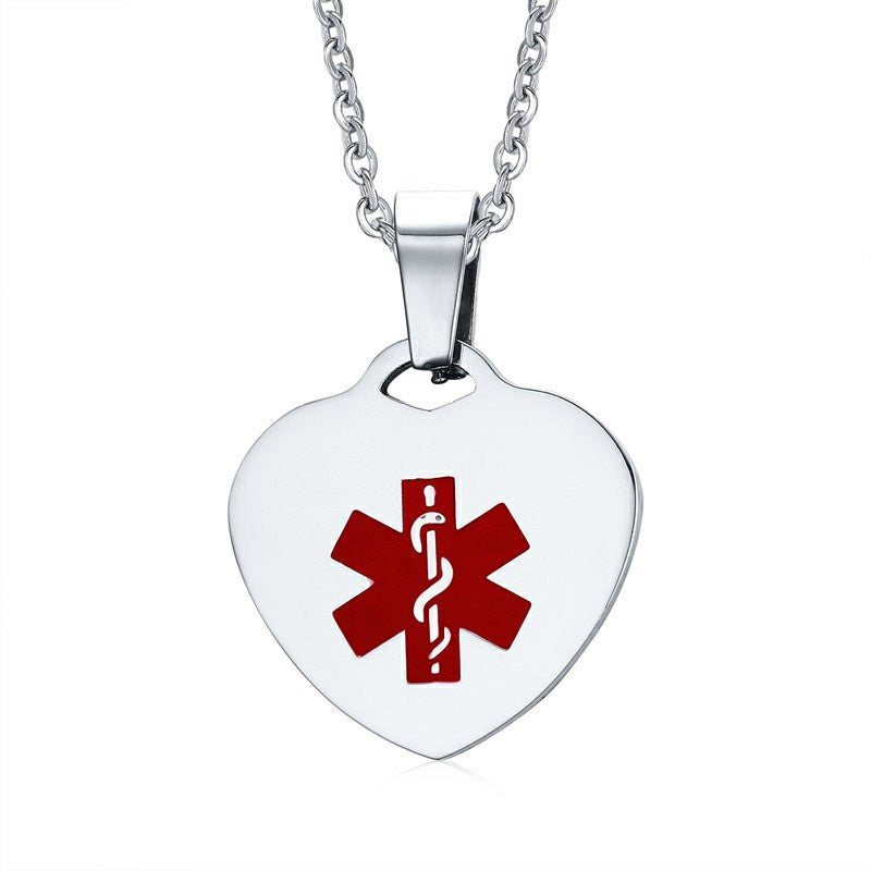 Custom Engrave Heart Shape Medical Alert ID Pendant Necklaces for Women