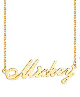 Women's Personalized Name Necklace Script Initial Nameplate Chain With Name
