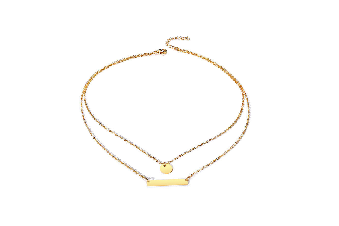Women's Trendy Layer Gold ID Collar Choker Custom Name Bar Necklace Love Words