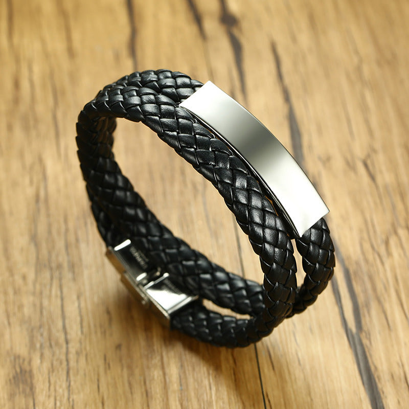 Women Men ID Bracelet Braided Leather Identification Bangle Casual Jewelry