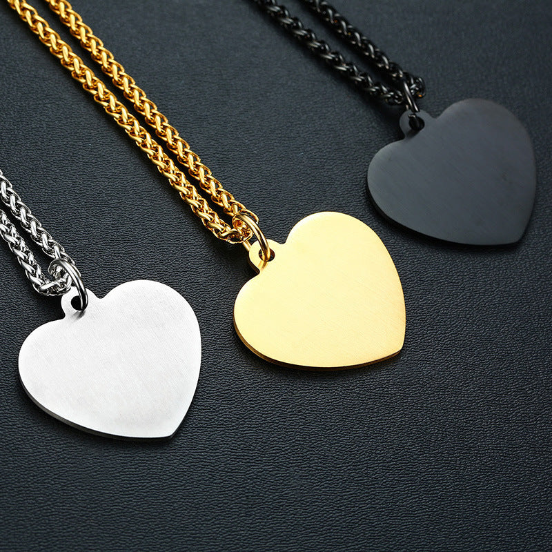 Stainless Steel Medical Alert ID Logo Pendant Heart Shape Tag Fashion Personalized Necklace