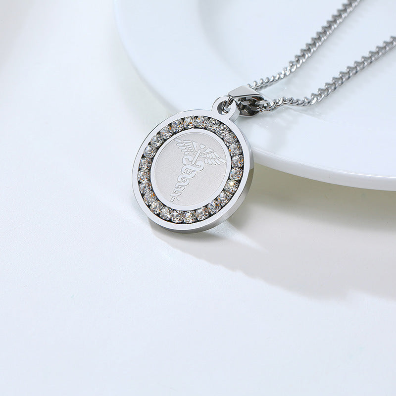 Stainless Steel Personalized Medical Alert ID Necklace CZ Pendant For Women Men