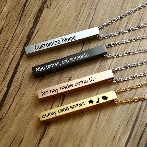 Personalized Name Bar Necklace for Women Men Vertical Cylindrical Glossy Pendant