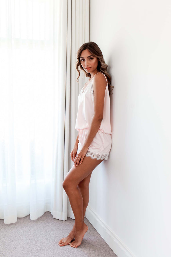 LACE CAMI W. SHORTS BABY PINK