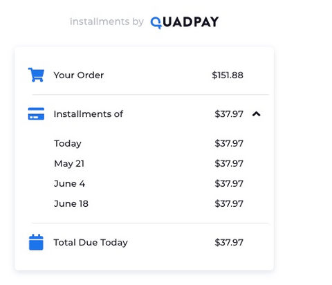 QUADPAY PAYMENT SCHEDULE