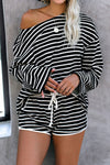 Black with White Striped Long Sleeve Shorts Set