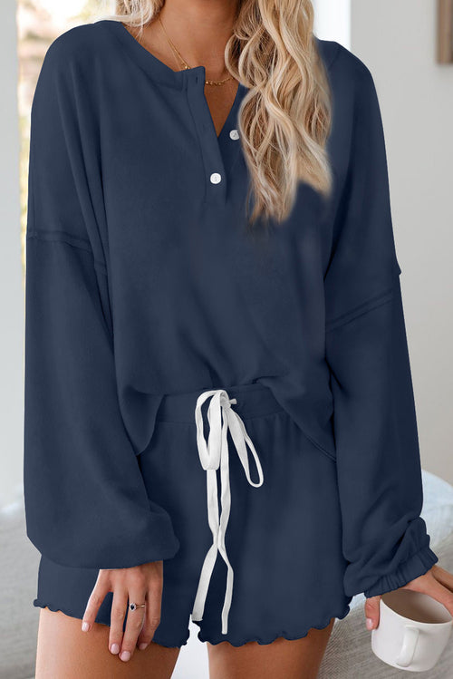 BLUE LONG SLEEVE SLEEP PAJAMA SET
