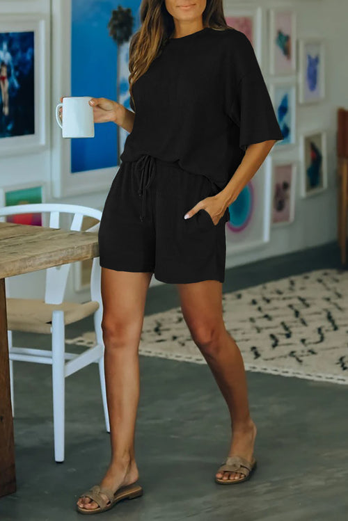Black Crew Neck Short Sleeve 2 Piece Lounge Set
