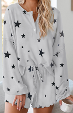 Grey Star Long Sleeve Pajama Short Set