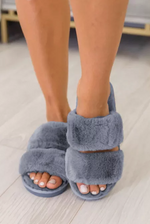 Blue Plush Slippers