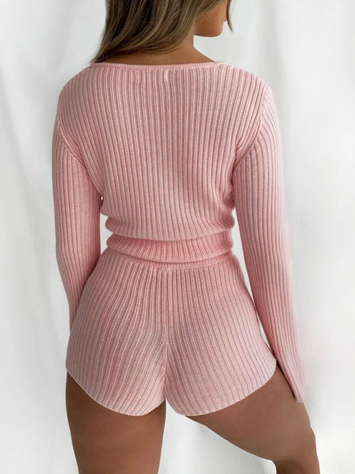 Pink Flare Sleeve Rib-Knit Cardigan & Short Set