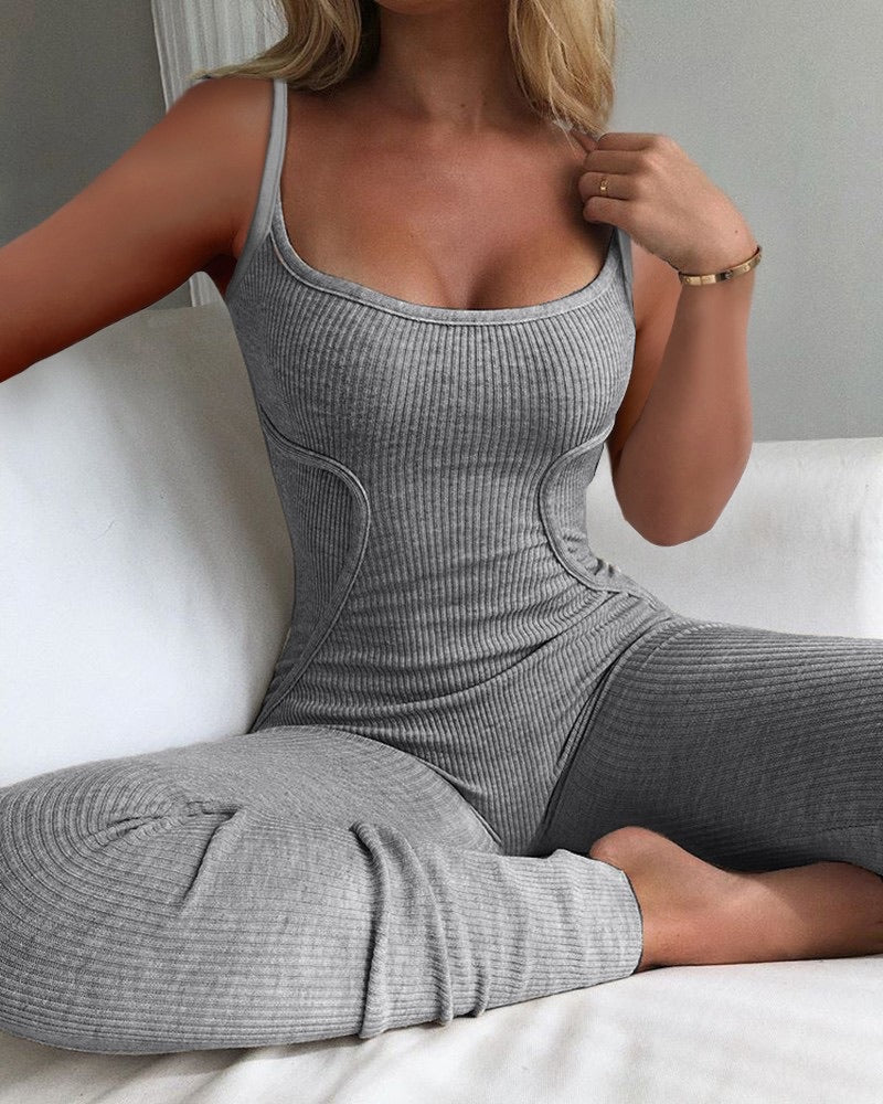 GREY BODYCON JUMPSUIT